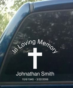 Personalized Memorial decal sticker with cross silhouette