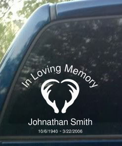 Image of personalized decal sticker for hunter with deer antlers in shape of a heart