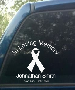 Photo of personalized memorial sticker decal with cancer awareness ribbon